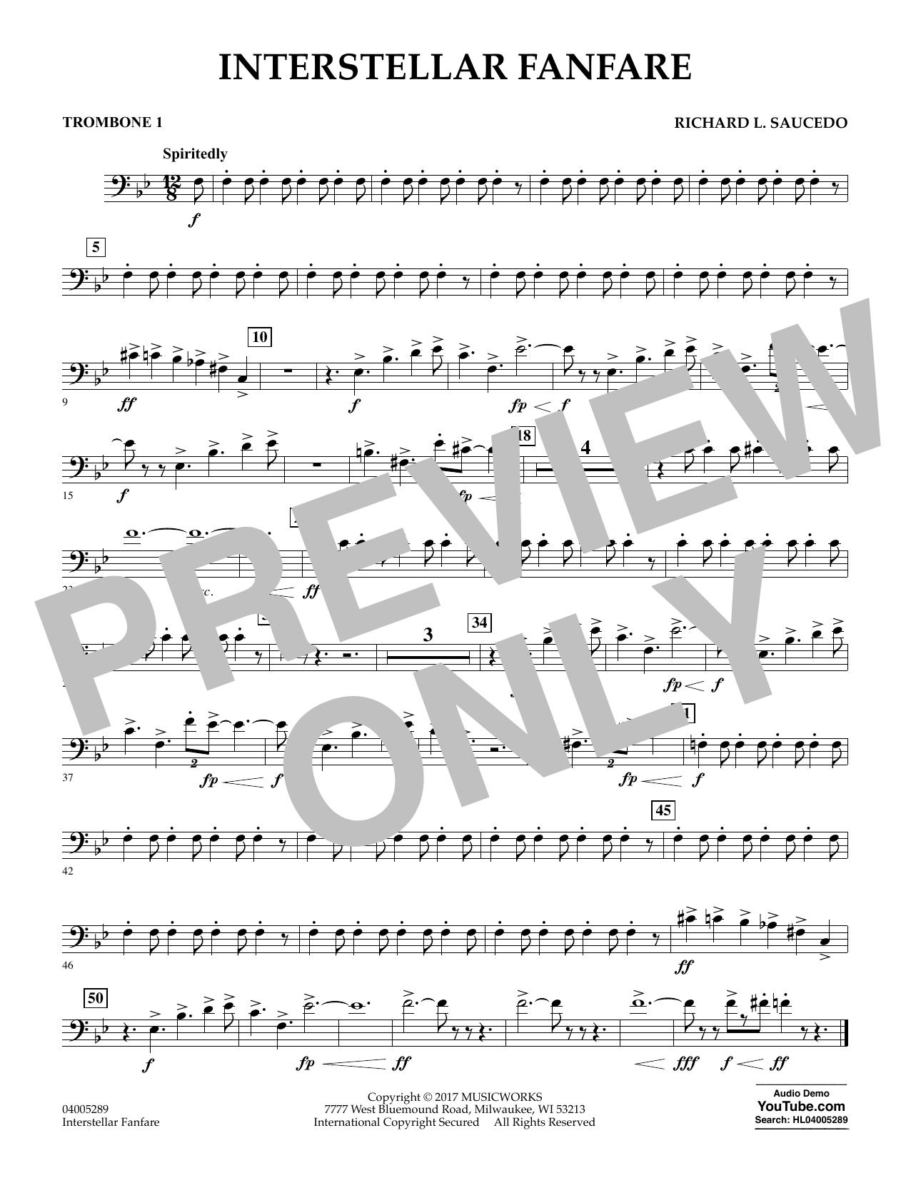 Richard L. Saucedo Interstellar Fanfare - Trombone 1 sheet music notes printable PDF score