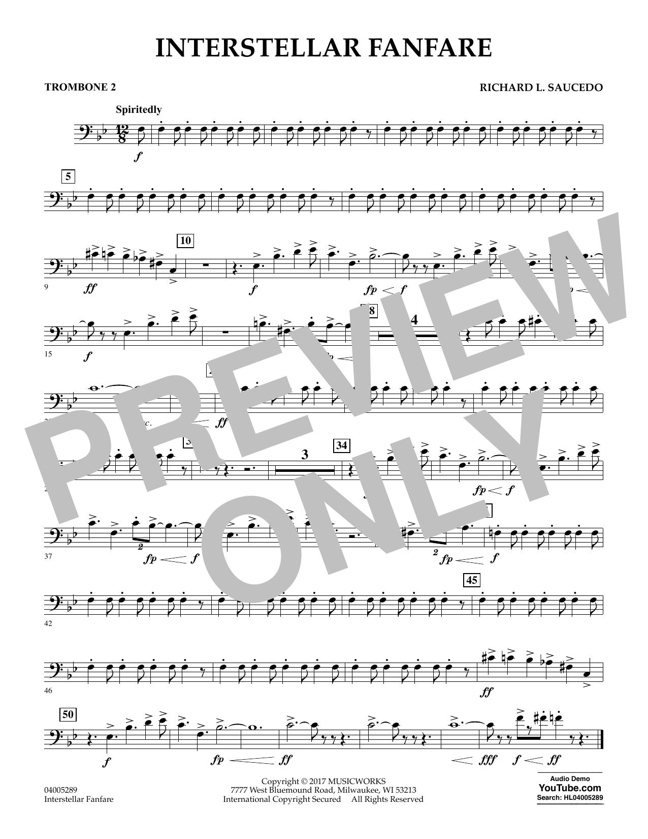 Richard L. Saucedo Interstellar Fanfare - Trombone 2 sheet music notes printable PDF score