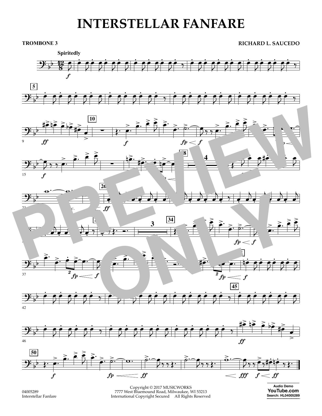 Richard L. Saucedo Interstellar Fanfare - Trombone 3 sheet music notes printable PDF score