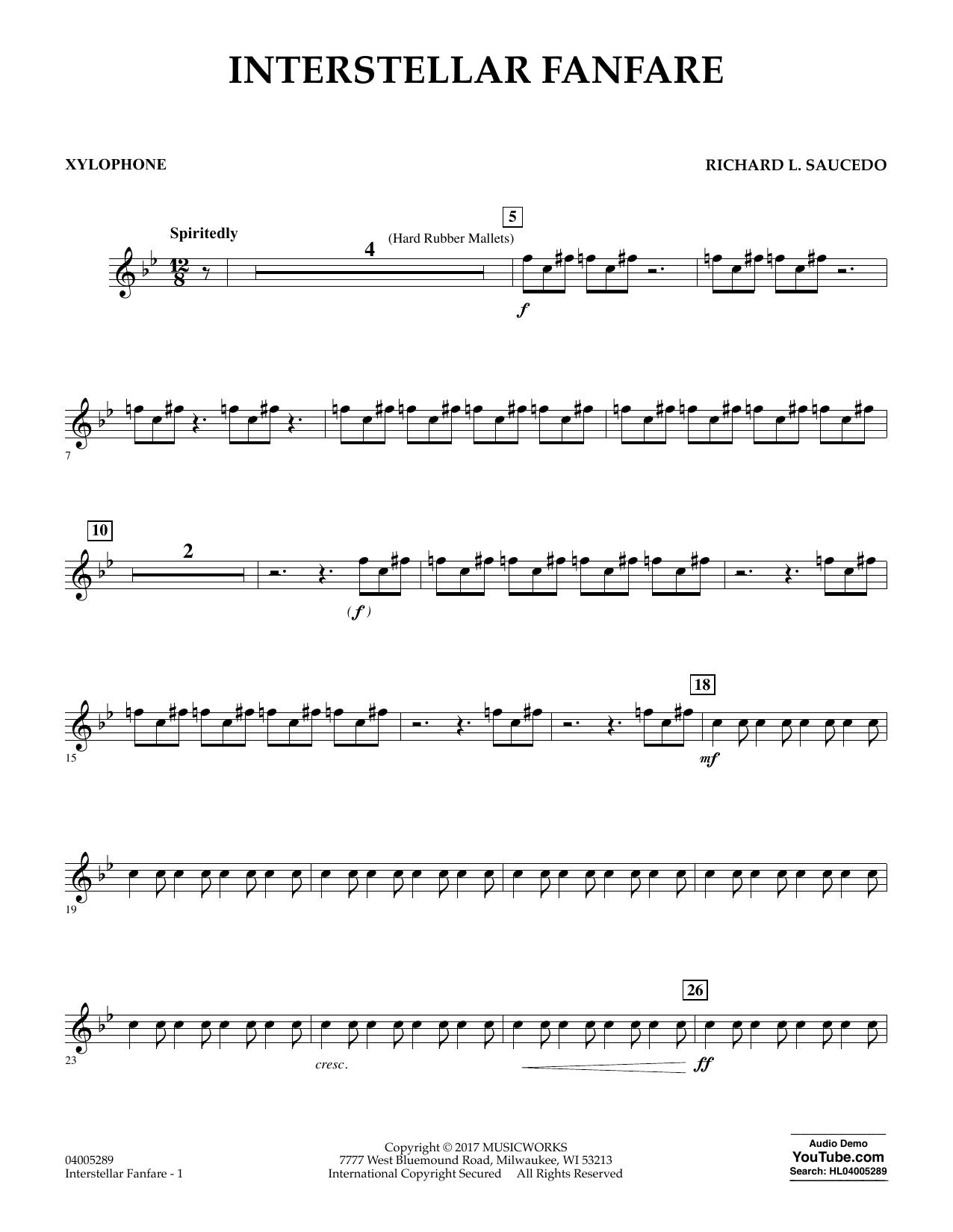 Richard L. Saucedo Interstellar Fanfare - Xylophone sheet music notes printable PDF score