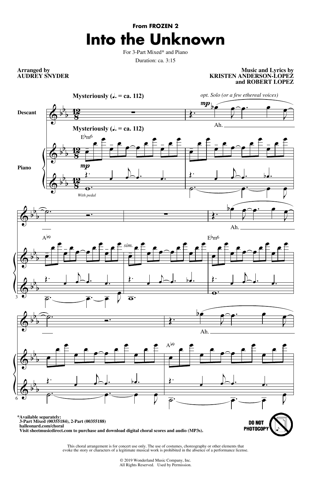 Idina Menzel and AURORA Into The Unknown (from Frozen 2) (arr. Audrey Snyder) sheet music notes printable PDF score