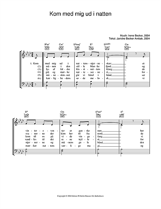 Irene Becker Kom Med Mig Ud I Natten sheet music notes printable PDF score