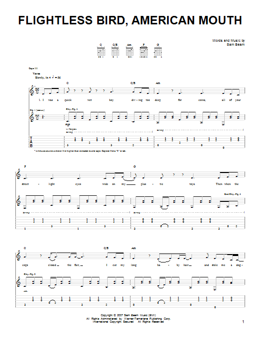 Iron & Wine Flightless Bird, American Mouth sheet music notes and chords. Download Printable PDF.
