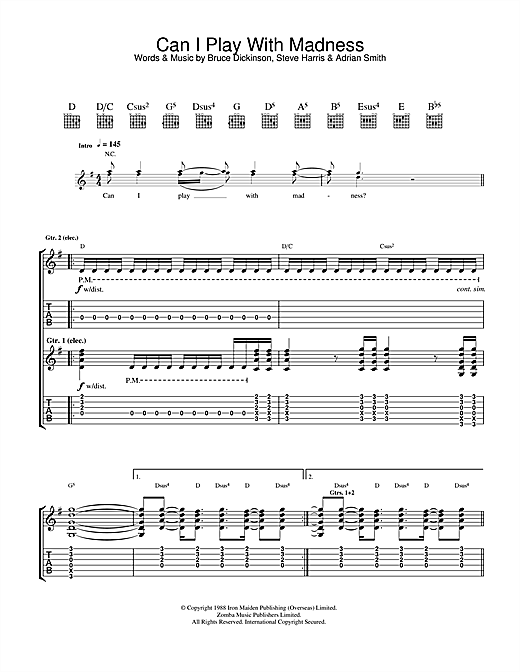 Iron Maiden Can I Play With Madness? sheet music notes printable PDF score