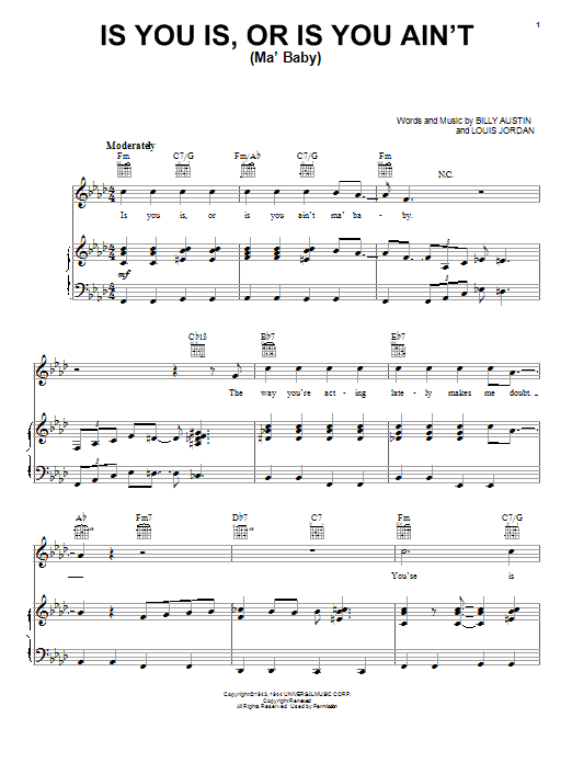 Louis Jordan Is You Is, Or Is You Ain't (Ma' Baby) sheet music notes printable PDF score