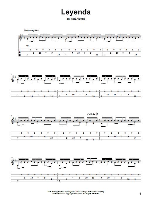 Isaac Albeniz Leyenda sheet music notes and chords. Download Printable PDF.