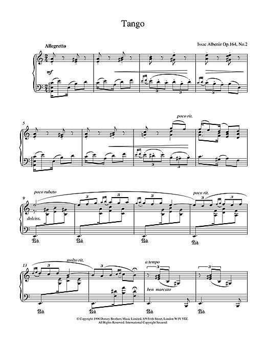 Isaac Albeniz Tango Op.164 No.2 sheet music notes printable PDF score