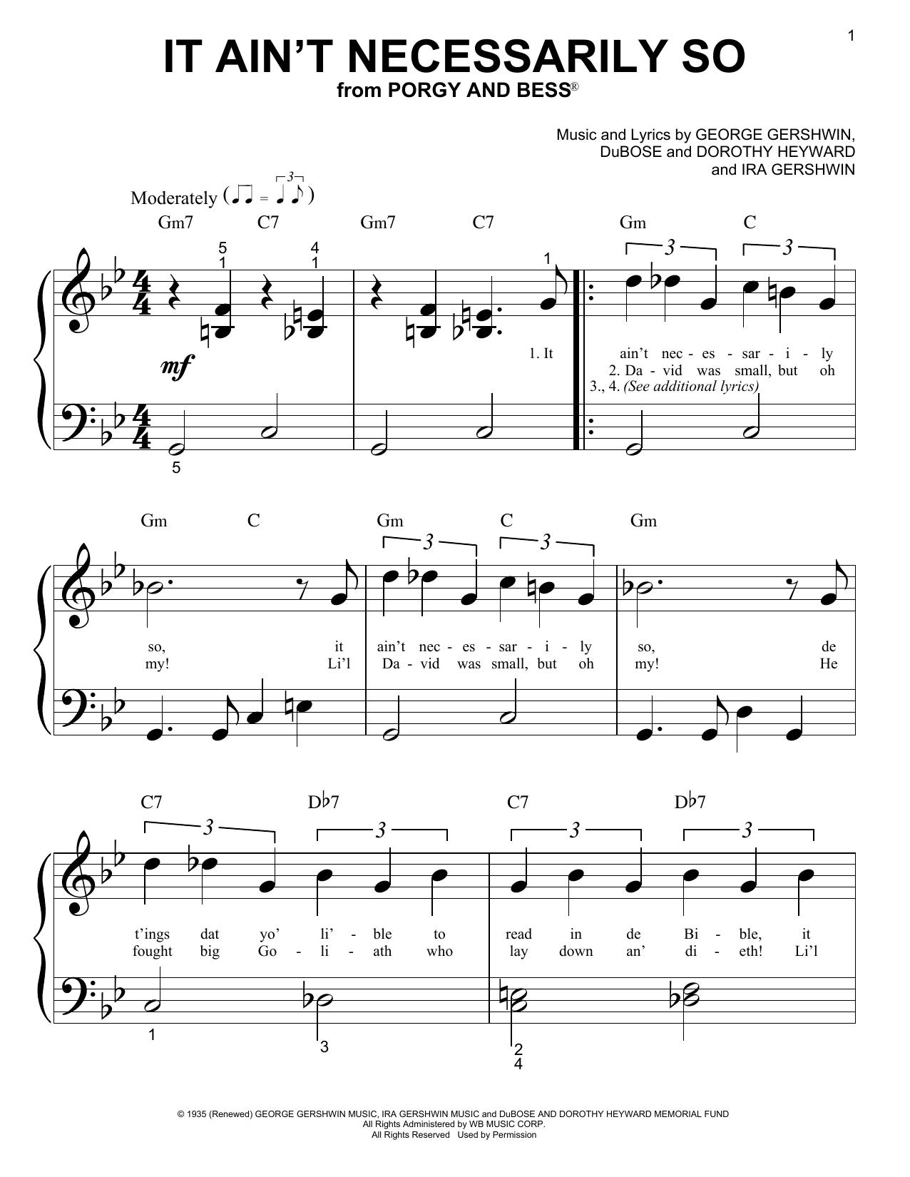 Sammy Cahn It Ain't Necessarily So sheet music notes printable PDF score
