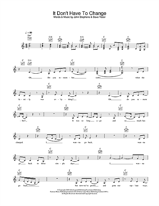 John Legend It Don't Have To Change sheet music notes printable PDF score