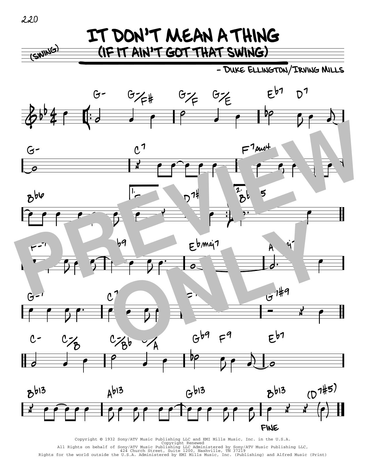 Duke Ellington It Don't Mean A Thing (If It Ain't Got That Swing) [Reharmonized version] (arr. Jack Grassel) sheet music notes printable PDF score