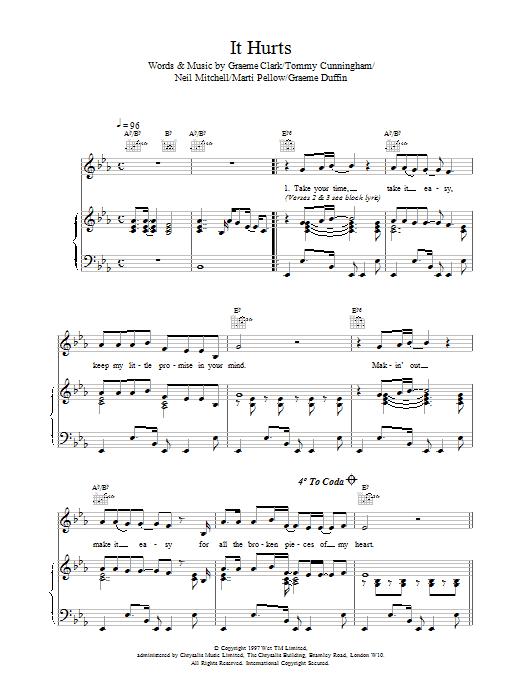 Wet Wet Wet It Hurts sheet music notes printable PDF score