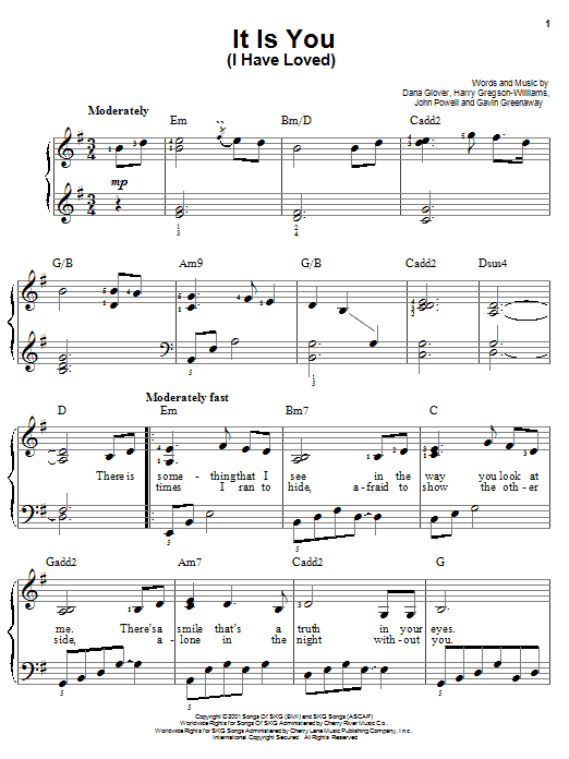 Dana Glover It Is You (I Have Loved) sheet music notes printable PDF score