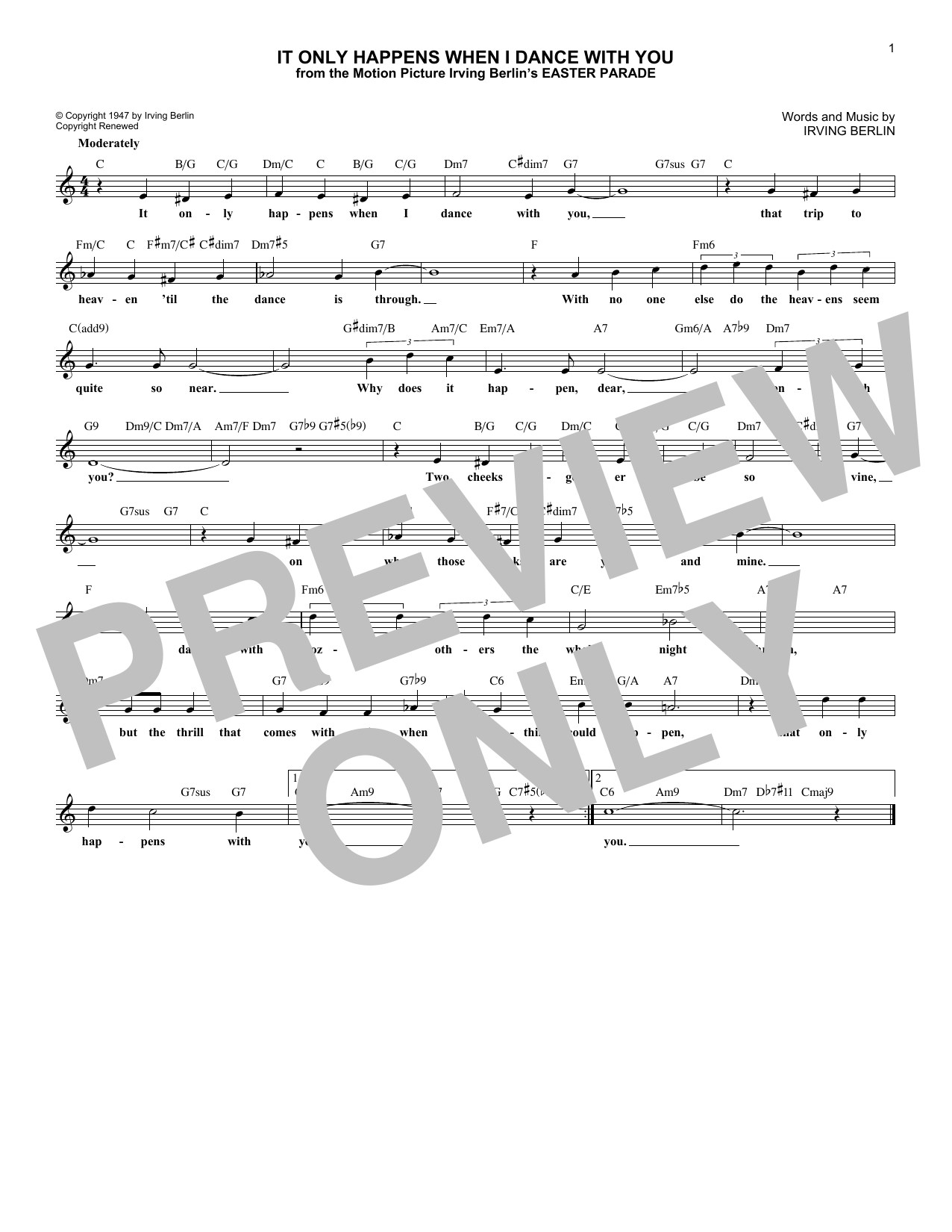 Irving Berlin It Only Happens When I Dance With You (from Easter Parade) sheet music notes printable PDF score