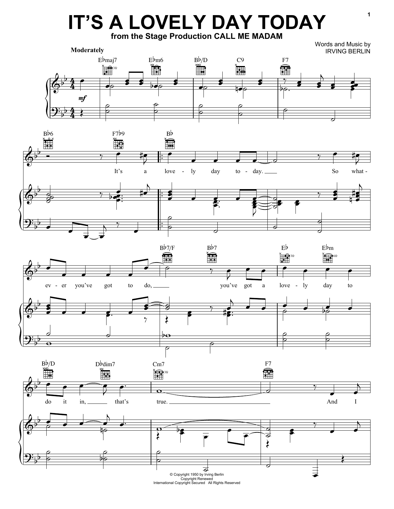 Irving Berlin It's A Lovely Day Today sheet music notes printable PDF score