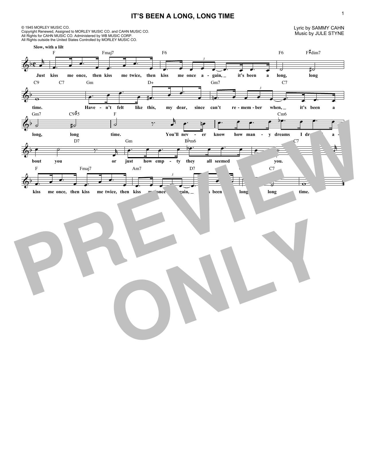 Jule Styne and Sammy Cahn It's Been A Long, Long Time sheet music notes printable PDF score