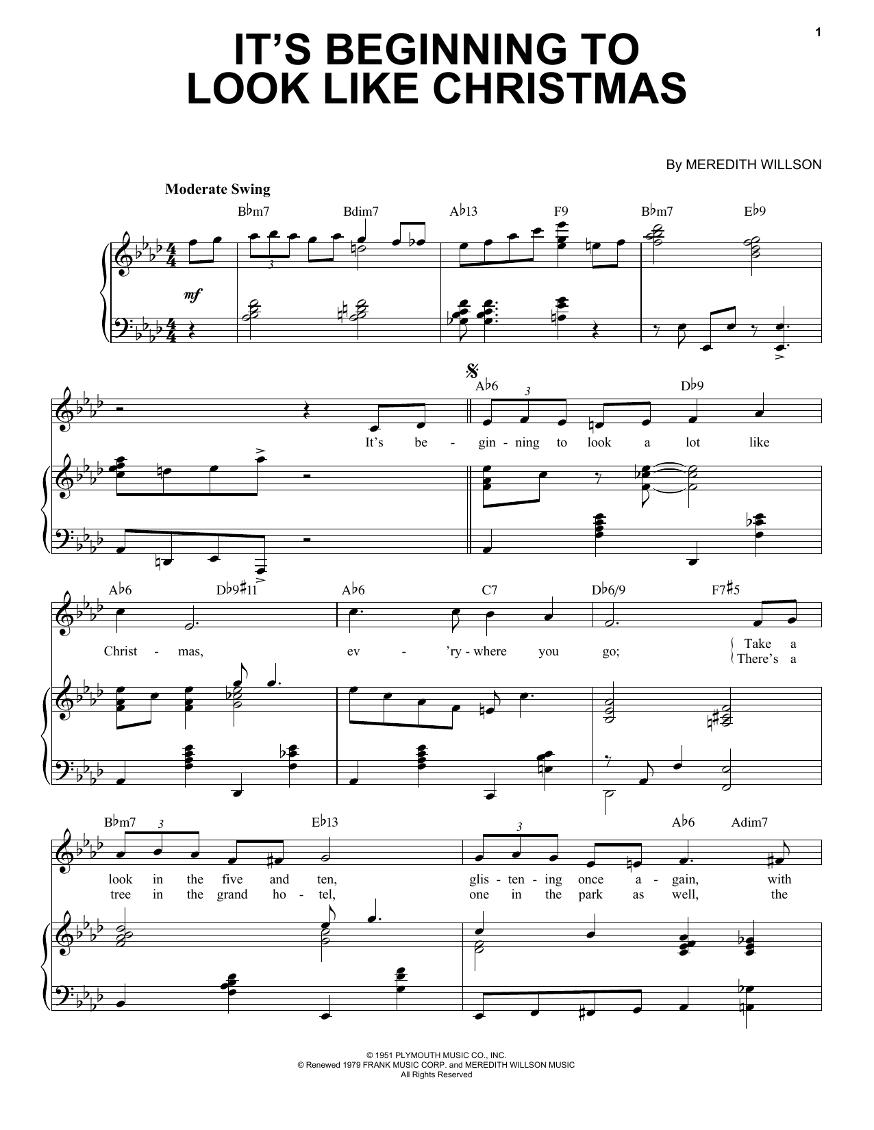 Meredith Willson It's Beginning To Look Like Christmas [Jazz Version] (arr. Brent Edstrom) sheet music notes printable PDF score