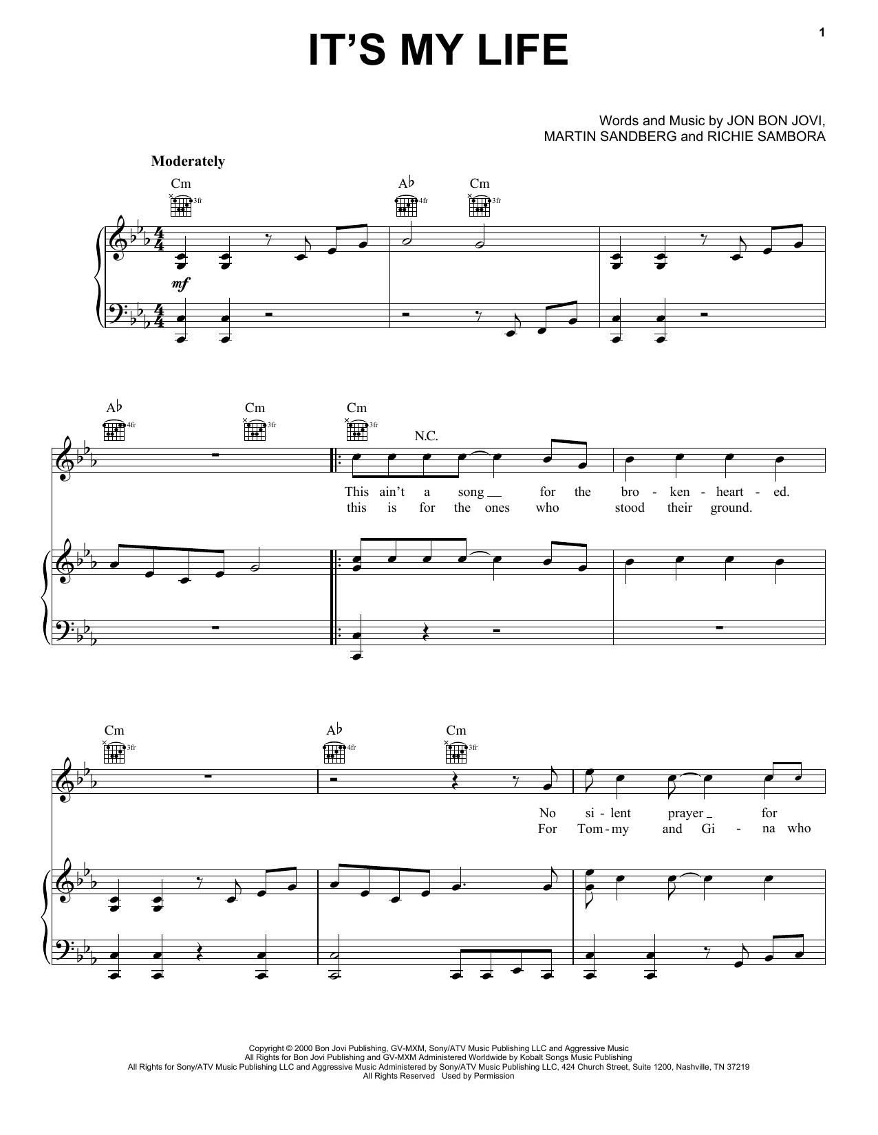 Bon Jovi It's My Life sheet music notes printable PDF score