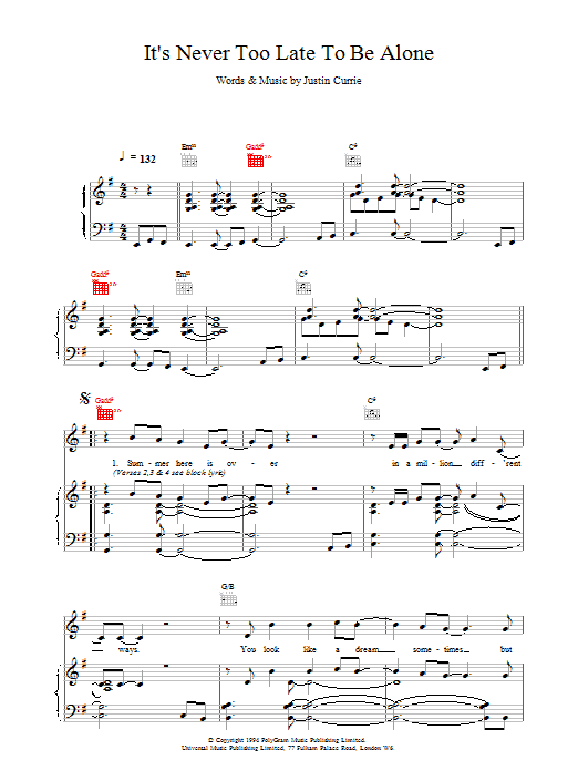 Del Amitri It's Never Too Late To Be Alone sheet music notes printable PDF score