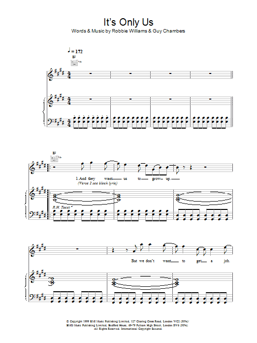 Robbie Williams It's Only Us sheet music notes printable PDF score