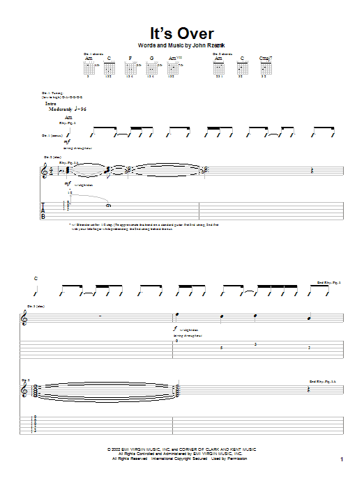 Goo Goo Dolls It's Over sheet music notes printable PDF score