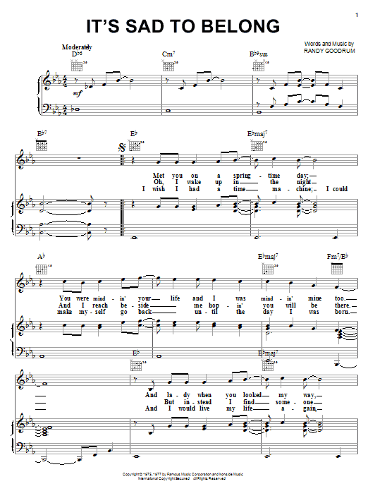 John Ford Coley It's Sad To Belong sheet music notes printable PDF score