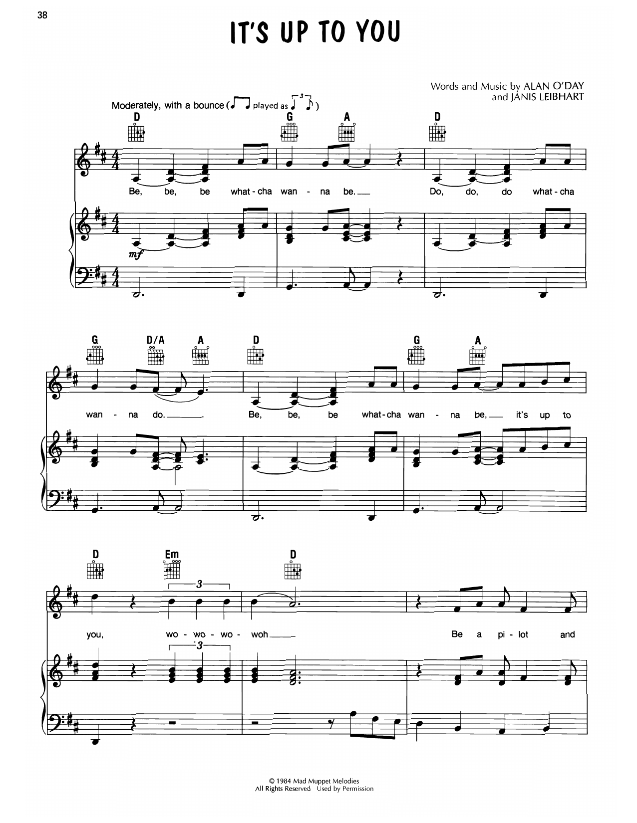 Alan O'Day It's Up To You (from Muppet Babies) sheet music notes printable PDF score