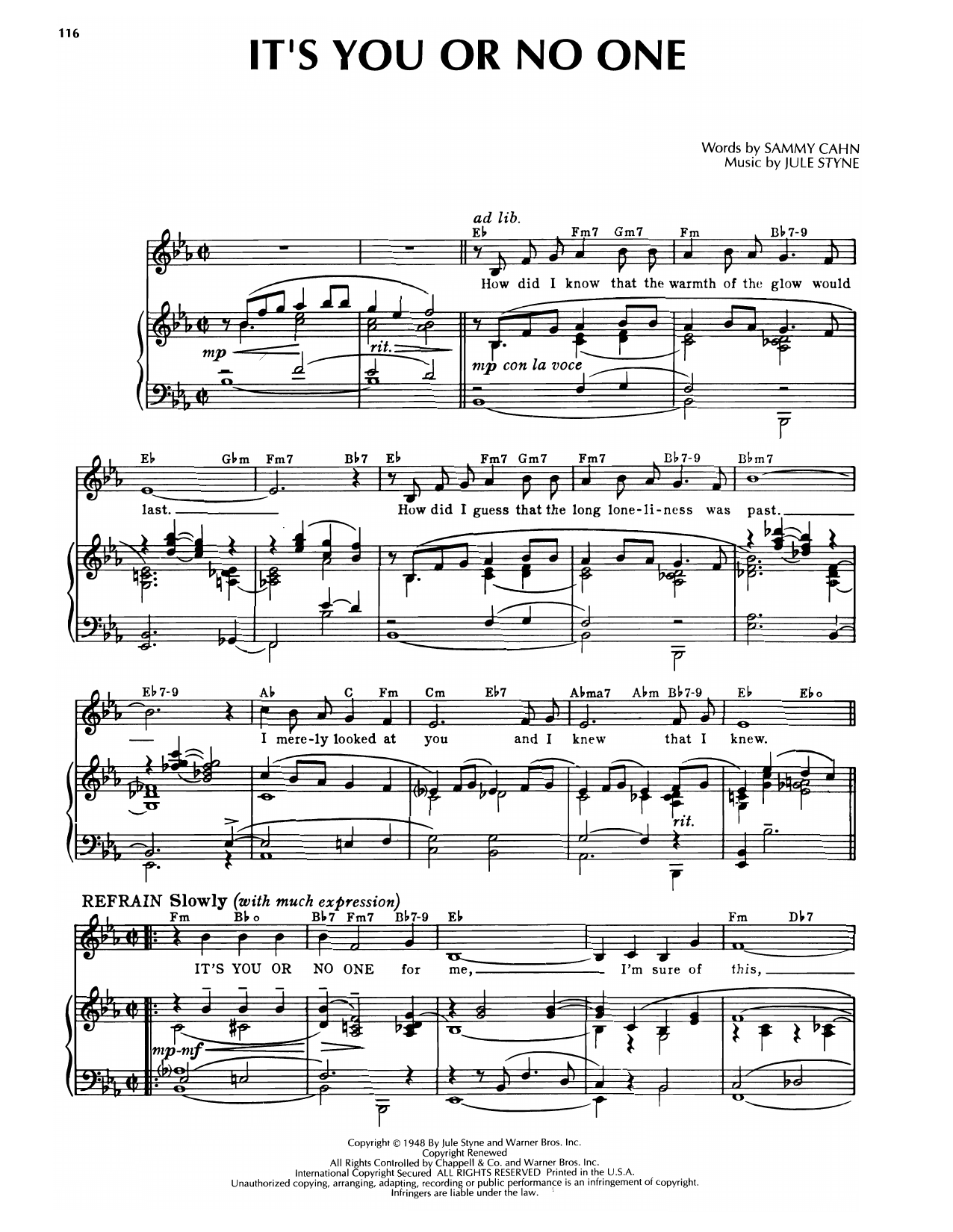Sammy Cahn & Jule Styne It's You Or No One (from Romance On The High Seas) sheet music notes printable PDF score