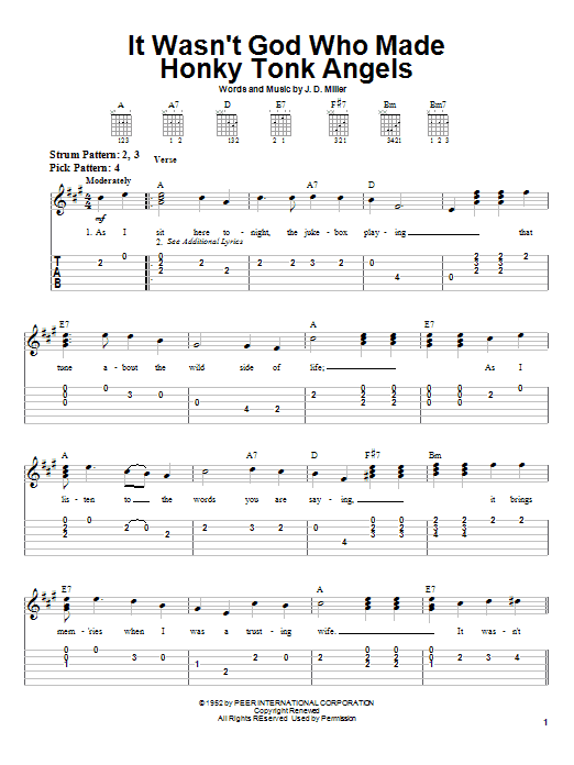 Kitty Wells It Wasn't God Who Made Honky Tonk Angels sheet music notes printable PDF score