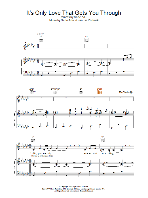 Sade It's Only Love That Gets You Through sheet music notes printable PDF score
