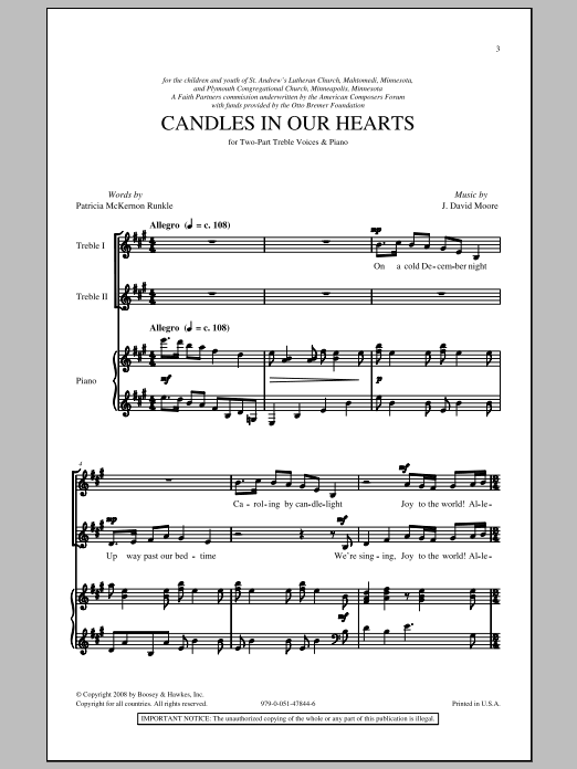 J. David Moore Candle In Our Hearts sheet music notes and chords. Download Printable PDF.