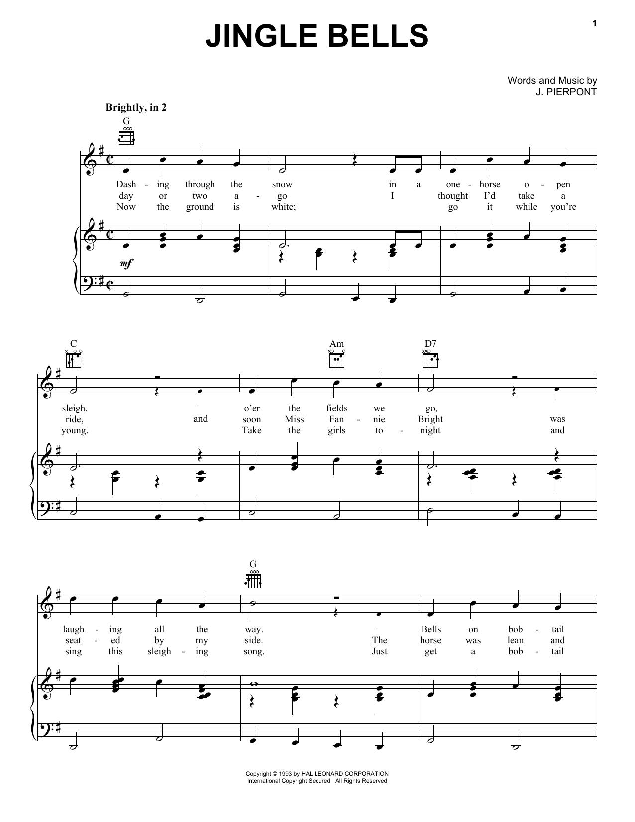 J. Pierpont Jingle Bells sheet music notes and chords - download printable PDF.