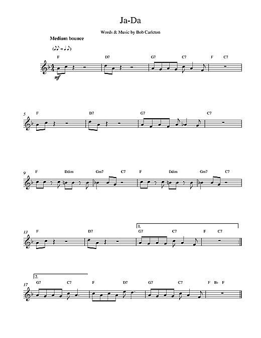 Bob Carleton Ja-Da sheet music notes printable PDF score