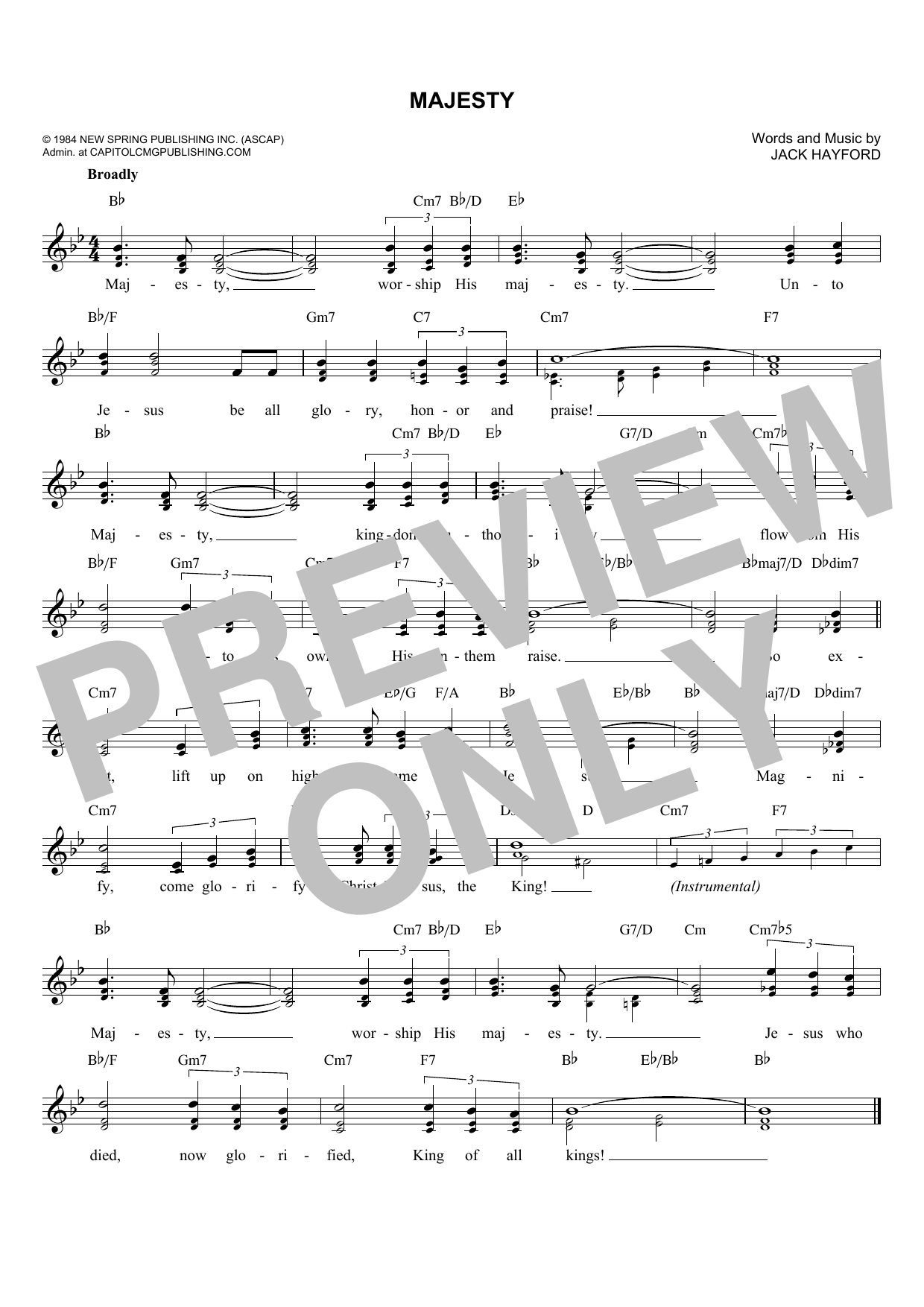 Jack Hayford Majesty sheet music notes and chords. Download Printable PDF.