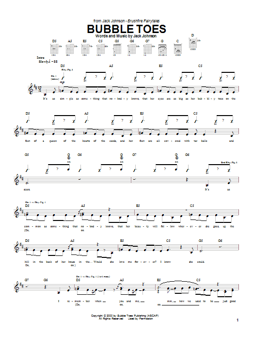 Jack Johnson Bubble Toes sheet music notes and chords. Download Printable PDF.