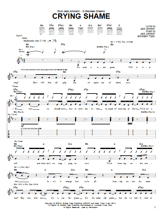 Jack Johnson Crying Shame sheet music notes and chords. Download Printable PDF.