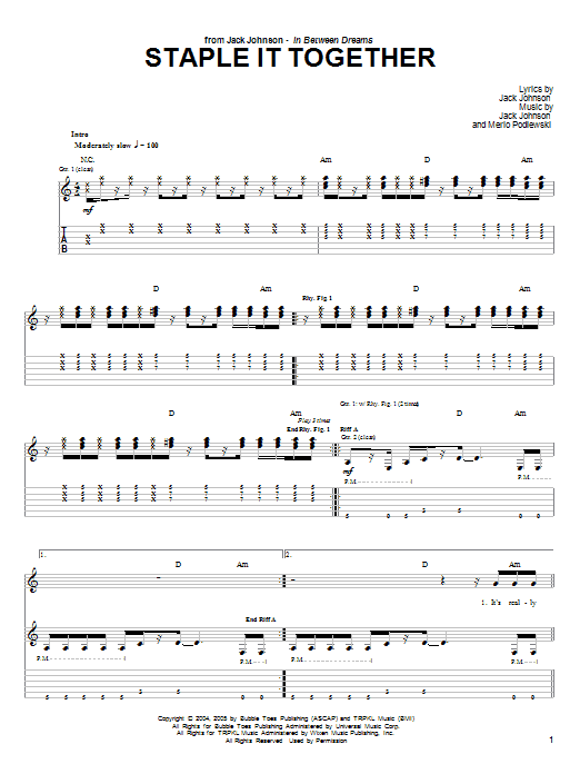 Jack Johnson Staple It Together sheet music notes and chords. Download Printable PDF.