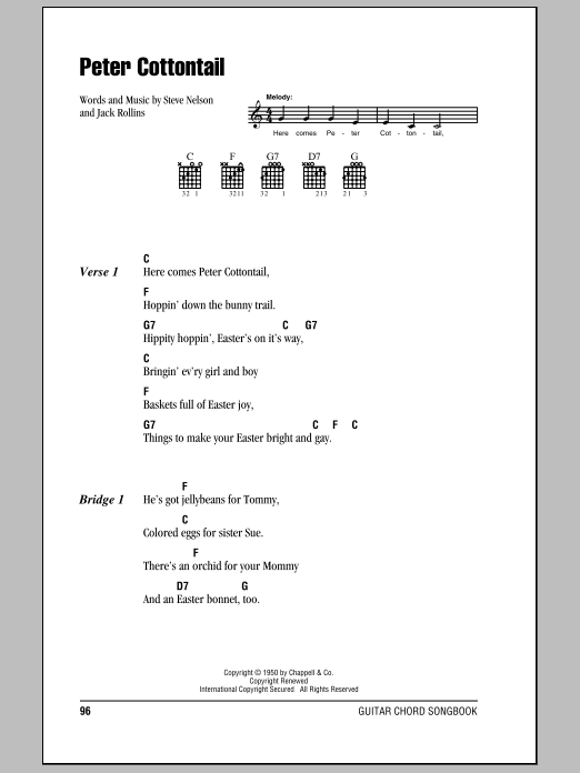 Jack Rollins Peter Cottontail sheet music notes and chords. Download Printable PDF.
