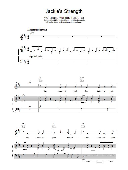 Tori Amos Jackie's Strength sheet music notes printable PDF score