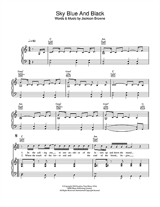 Jackson Browne Sky Blue And Black sheet music notes printable PDF score
