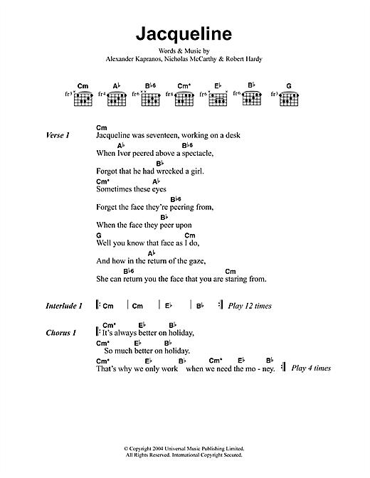 Franz Ferdinand Jacqueline sheet music notes printable PDF score
