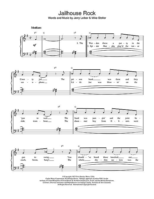 Elvis Presley Jailhouse Rock sheet music notes printable PDF score