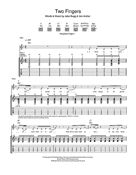 Jake Bugg Two Fingers sheet music notes and chords - download printable PDF.