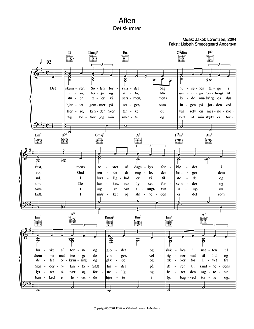 Jakob Lorentzen Aften - Det Skumrer sheet music notes printable PDF score