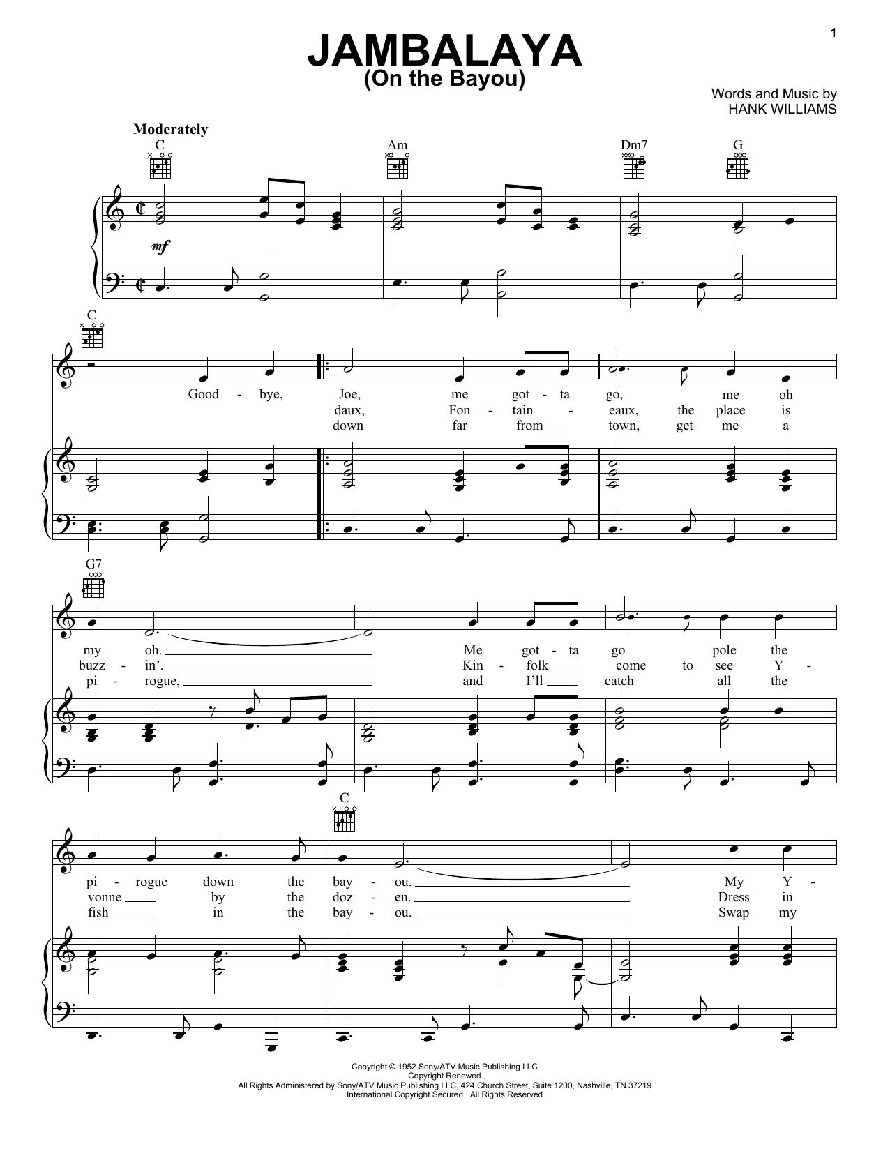 Hank Williams Jambalaya (On The Bayou) sheet music notes printable PDF score