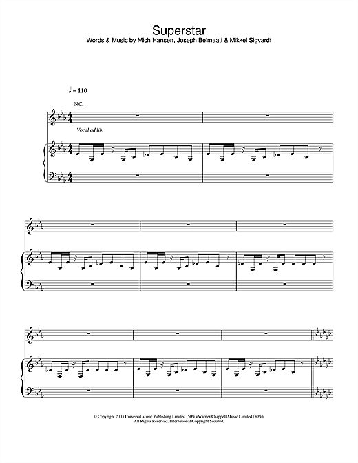 Jamelia Superstar sheet music notes and chords. Download Printable PDF.
