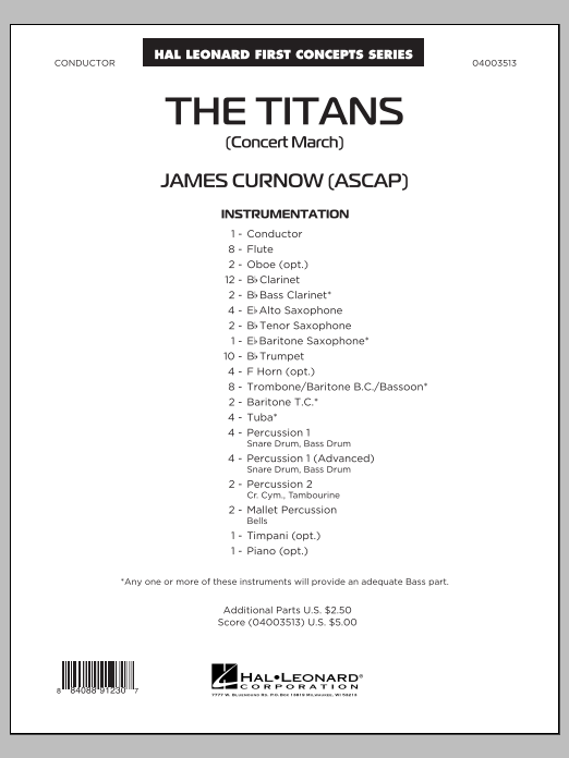 James Curnow The Titans (Concert March) - Conductor Score (Full Score) sheet music notes and chords. Download Printable PDF.