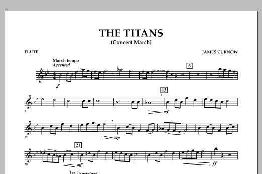 James Curnow The Titans (Concert March) - Flute sheet music notes and chords. Download Printable PDF.