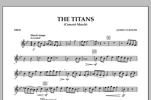 James Curnow The Titans (Concert March) - Oboe sheet music notes and chords. Download Printable PDF.
