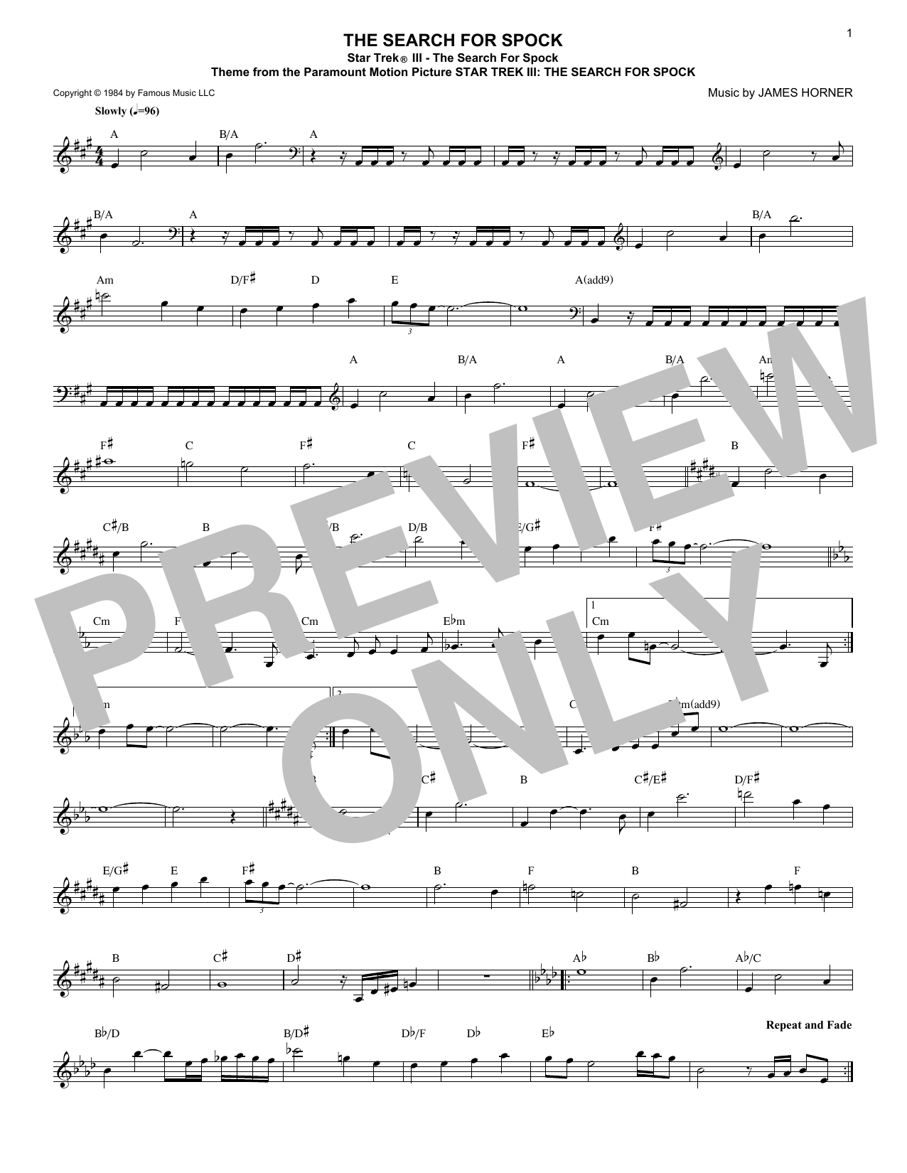 James Horner Star Trek III - The Search For Spock sheet music notes and chords. Download Printable PDF.