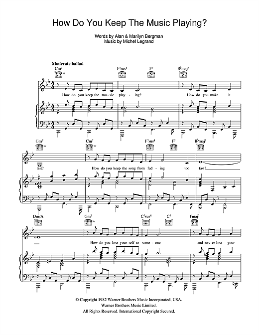 James Ingram How Do You Keep The Music Playing? sheet music notes and chords. Download Printable PDF.